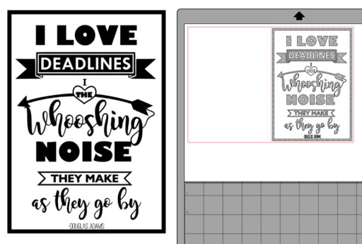 Douglas Adams I love deadlines quote.  Free file for sketch pens by Nadine Muir for Silhouette UK blog