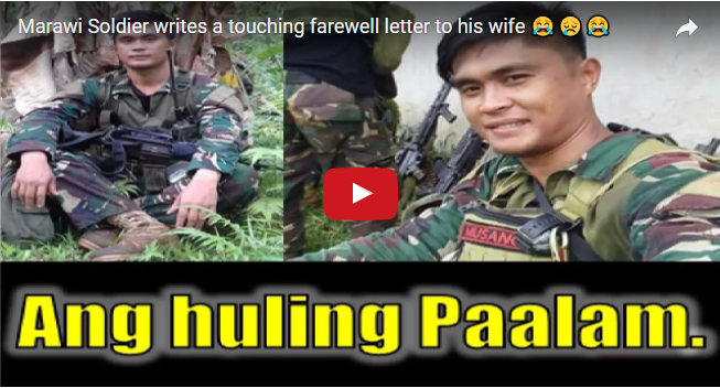 2tZCBFs WATCH! MARAWI SOLDIERS WRITE A TOUCHING FAREWELL LETTER TO HIS WIFE BEFORE HE DIES IN THE BATTLE 😭😢😭...