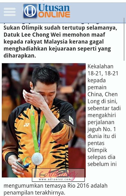 Sukan Olimpik Tertutup Selamanya, Datuk Lee Chong Wei Pohon Maaf