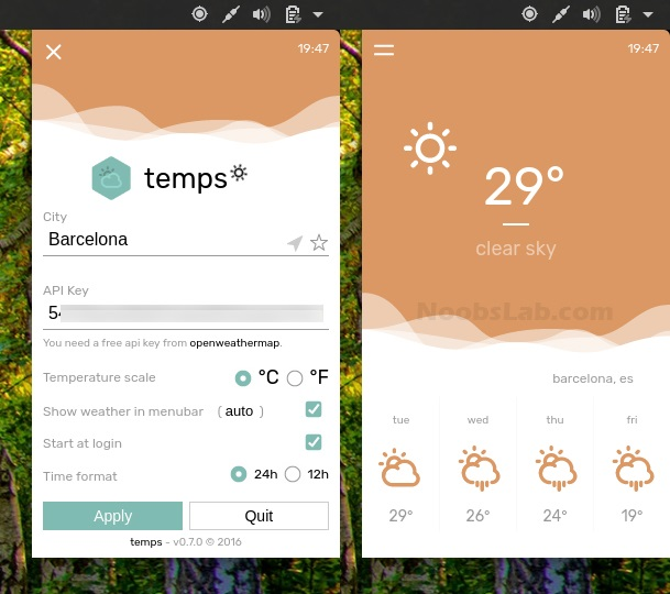 Temps: A Beautiful Weather Application For Your Desktop - NoobsLab