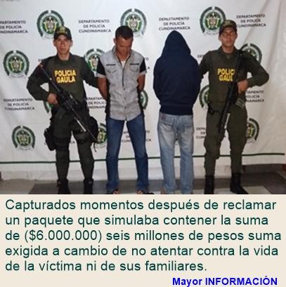 FUSAGASUGÁ: EL GAULA CAPTURA EXTORSIONISTAS
