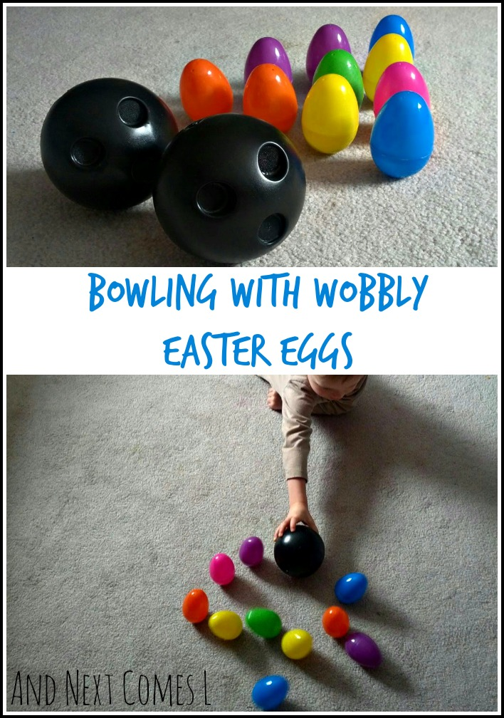 Bowling with wobbly Easter eggs from And Next Comes L
