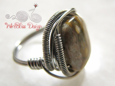 Close up of wire wrapped jasper ring