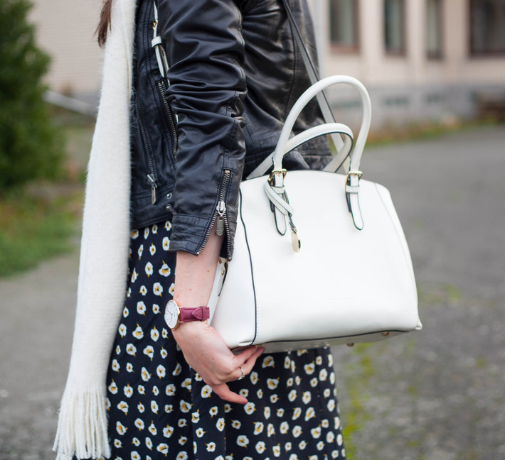 outfit: leather jacket, floral dress, white handbag