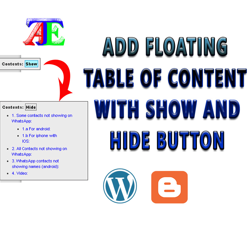 Create Fixed or Floating Table of Contents to Posts or Pages with