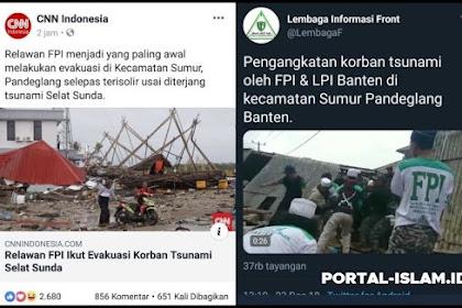 Terimakasih FPI, Sudah Menjadi yang Paling Awal Evakuasi Korban Tsunami, Tetap Ikhlas dan Istiqomah