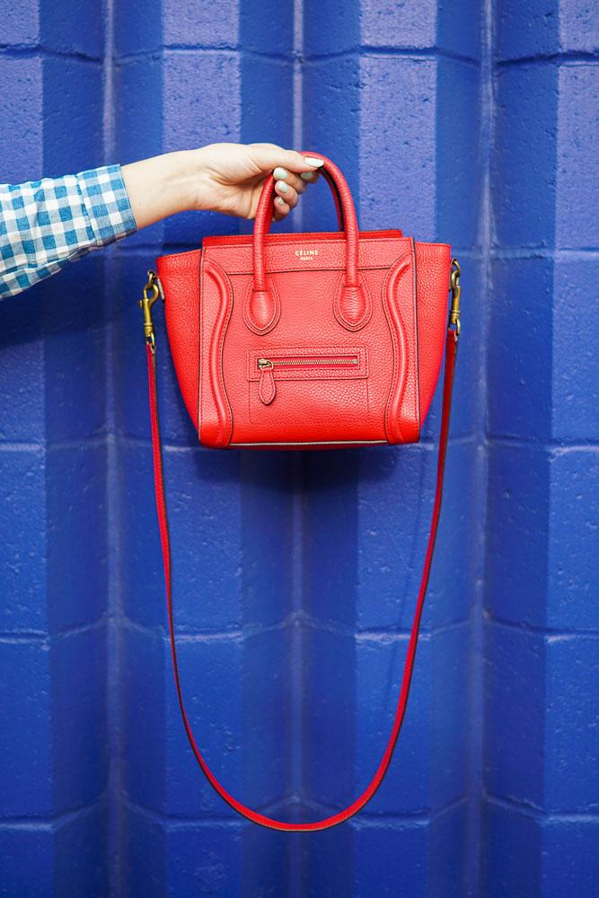 Celine Nano Luggage Handbag, Red Crossbody