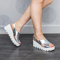 Sandale dama Piele Roux argintii cu platforma (modlet)