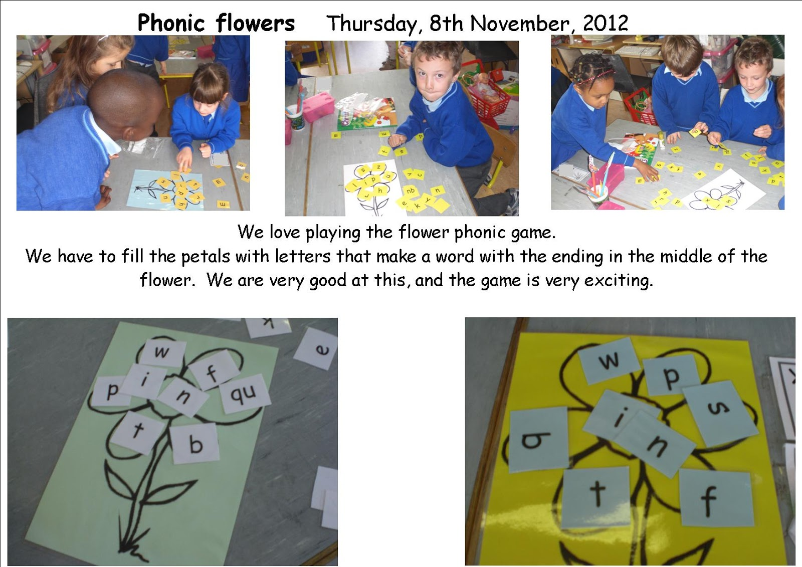 Literacy Site Phonic Flowers