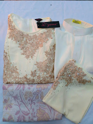 Set Baju Pengantin Warna Krim Gold + Sampin Tenun