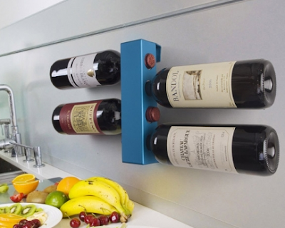 blue wall-mounted wine rack