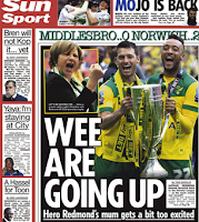 The back page of Tuesday's Sun focuses on the game that led  to Norwich City's return to the Premier League