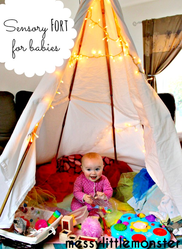 DIY sensory teepee fort for babies,  den