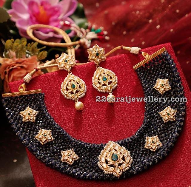 Blue Sapphire Beads Heavy Choker