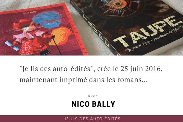 """""""Je lis des auto-édités"""" imprimé dans les romans de Nico Bally"""