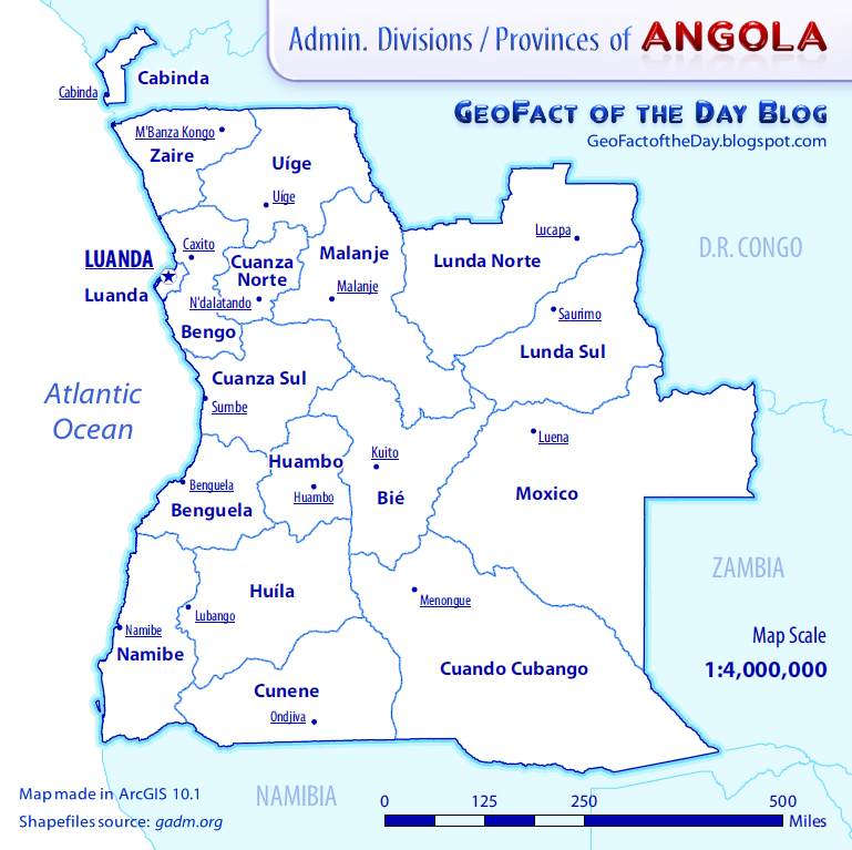 GeoFact of the Day Angola Provinces