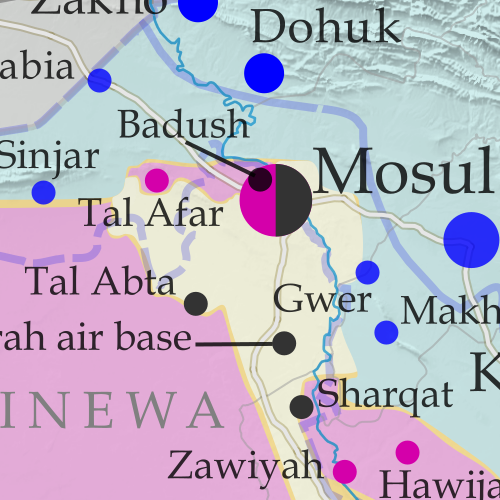 Detailed map of territorial control in Iraq as of March 17, 2016, including territory held by the so-called Islamic State (ISIS, ISIL), the Baghdad government, and the Kurdistan Peshmerga. Shows developments in the ongoing coalition battle to recapture the city of Mosul. Includes key locations from recent events, such as Mosul, Badush, and Tal Abta. Colorblind accessible.