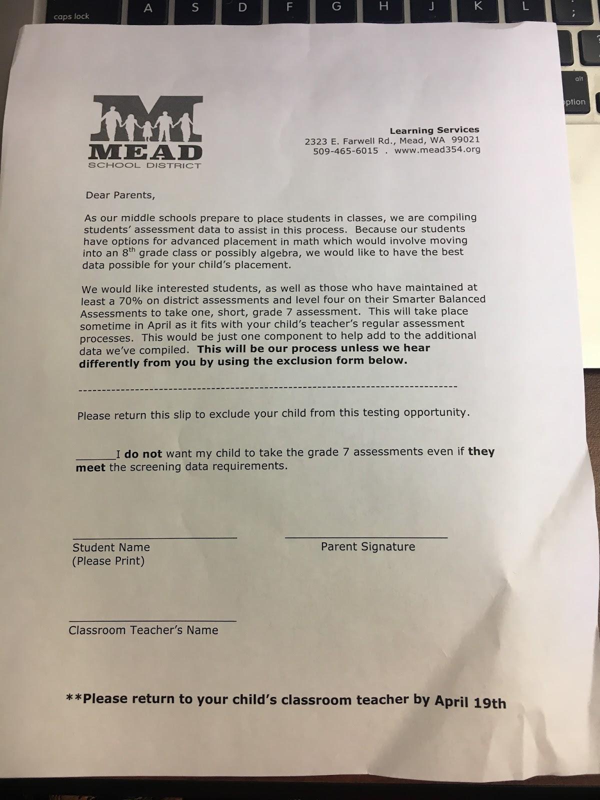Prairiewood 6th Grade : Exclusion Form for 7th grade Advanced Math ...