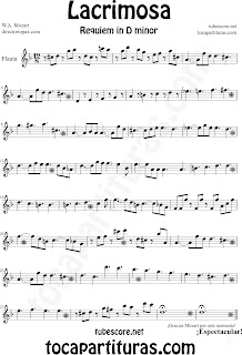 Partitura Fácil  de Lacrimosa para Flauta Travesera by Sheet Music for Flute Requiem by Mozart Music Scores