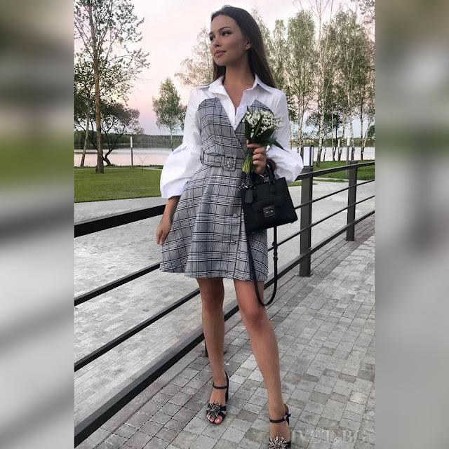 Μοντέρνο κοντό χρωματιστό φόρεμα IZZY