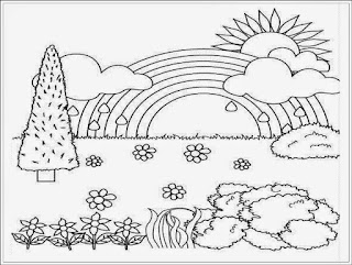 Gratis Sketsa Mewarnai Pemandangan Alam