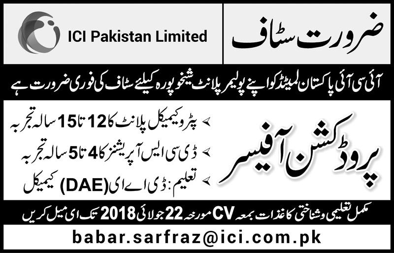 ICI Paksitan Limited Sheikhupra required Staff