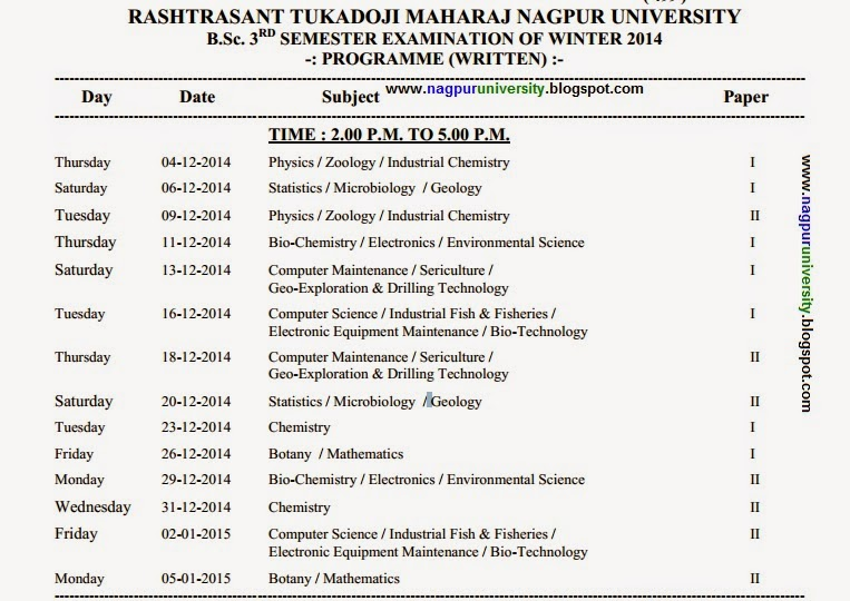 b sc 3rd sem new timetable winter 2014 rtmnu time table