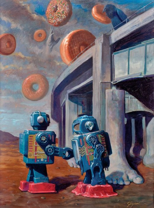 Eric Joyner arte pinturas surreais robôs e donuts rosquinhas