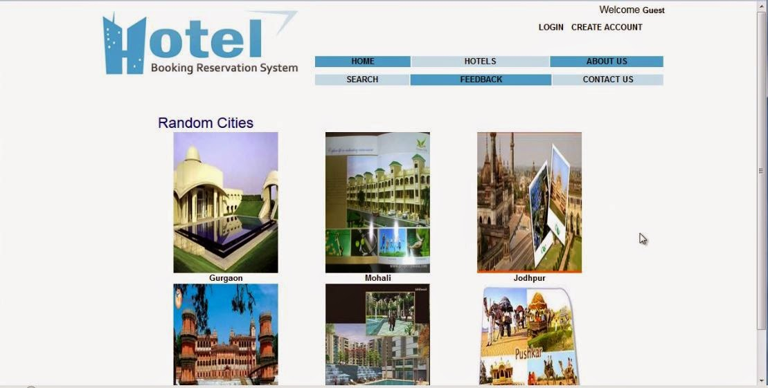 home page of hotel reservation system in asp.net c#