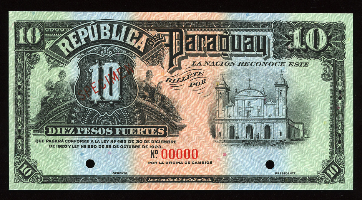 Republica del Paraguay 10 Pesos Fuertes banknote 1923 ...
