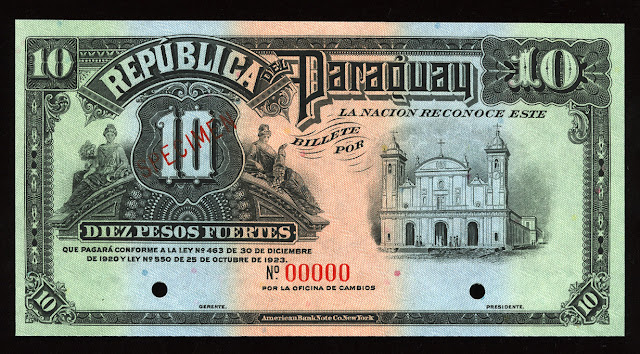 World paper money Paraguay Currency Pesos banknote cash
