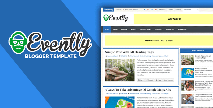 Evently Professional Event Niche Blogger Template