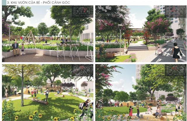 Khuôn viên xanh an lành tại THE K PARK