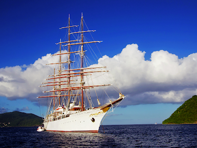 White Four-Masted Sailing Ship wallpaper