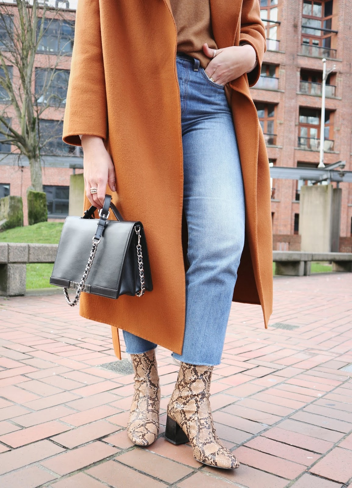 orange wool coat outfit rust vancouver fashion blogger achro coat snakeskin boots
