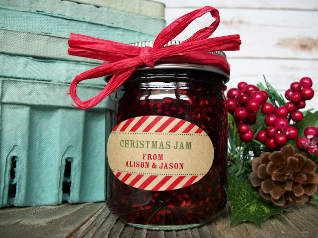 Custom Kraft Candy Cane Christmas Oval Canning Jar Labels