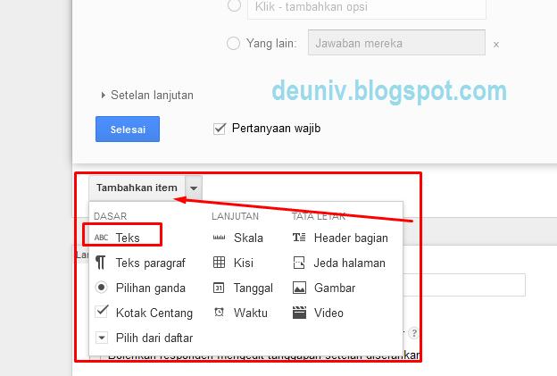 tambahan item teks google form