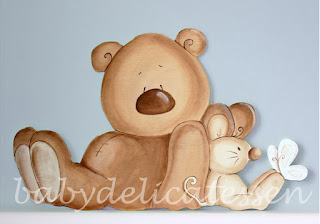 Silueta de madera infantil oso y ratón babydelicatessen