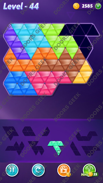 Block! Triangle Puzzle Proficient Level 44 Solution, Cheats, Walkthrough for Android, iPhone, iPad and iPod