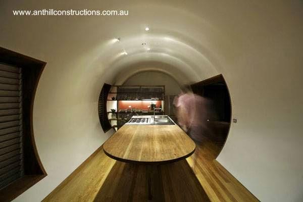 Casa tubular en Australia vista del interior