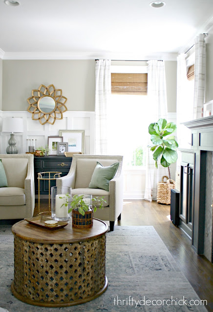 Hanging drapes high on wall