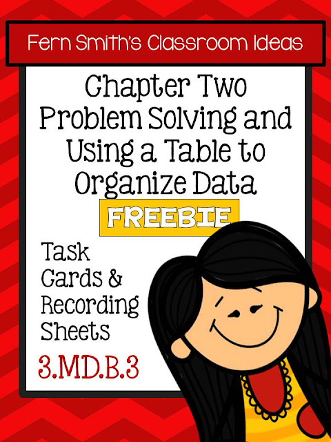 FREE Problem Solving with Tables to Organize Data Task Cards and Answer Sheet Freebie For Your Classroom - Fern Smith's Classroom Ideas Fern's Freebie Friday.