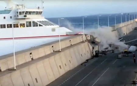 Out-of-control Canary Islands ferry smashes into harbour wall in terrifying accident