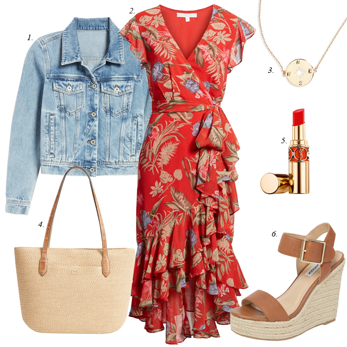 red ruffle floral dress, straw tote, denim jacket, espadrille sandals