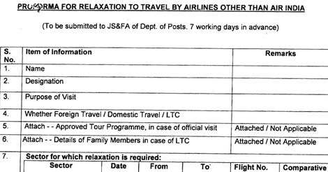 PROFORMA RELAXATION TRAVEL BY AIRLINES AIR-INDIA