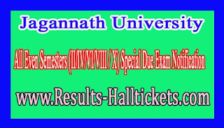 Jagannath University All Even Semesters (II/IV/VI/VIII / X) Special Due Exam Notification