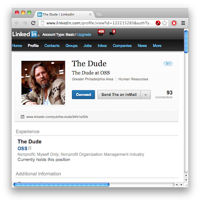 "Real screenshot of ""The Dude""'s profile on LinkedIn"