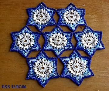 7 Star Doily in Blues and White - Email RSS Designs In Fiber for a Custom Request