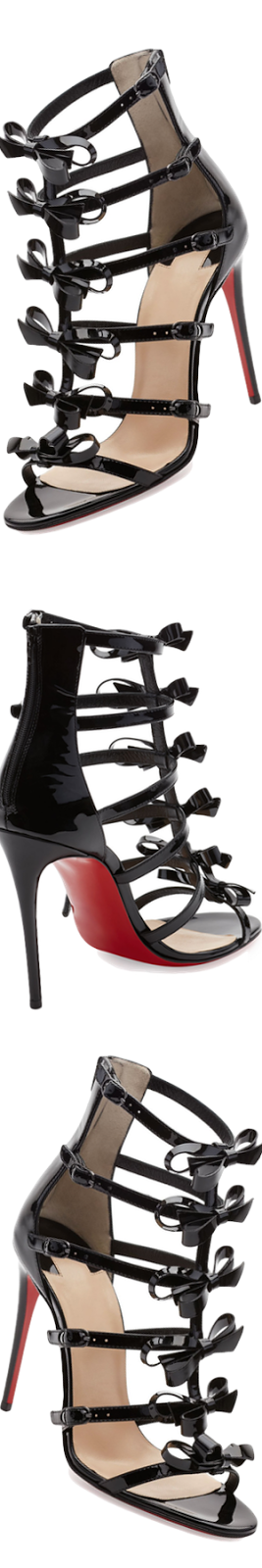 Christian Louboutin Girlystrappi Bow 100mm Red Sole Sandal, Black