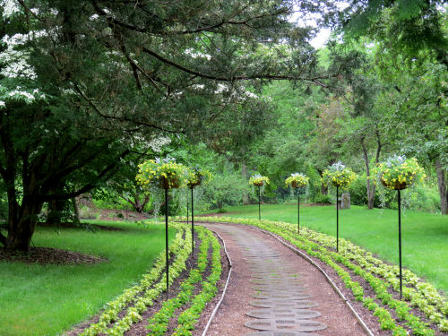 walkway lined with flowers Dow Gardens